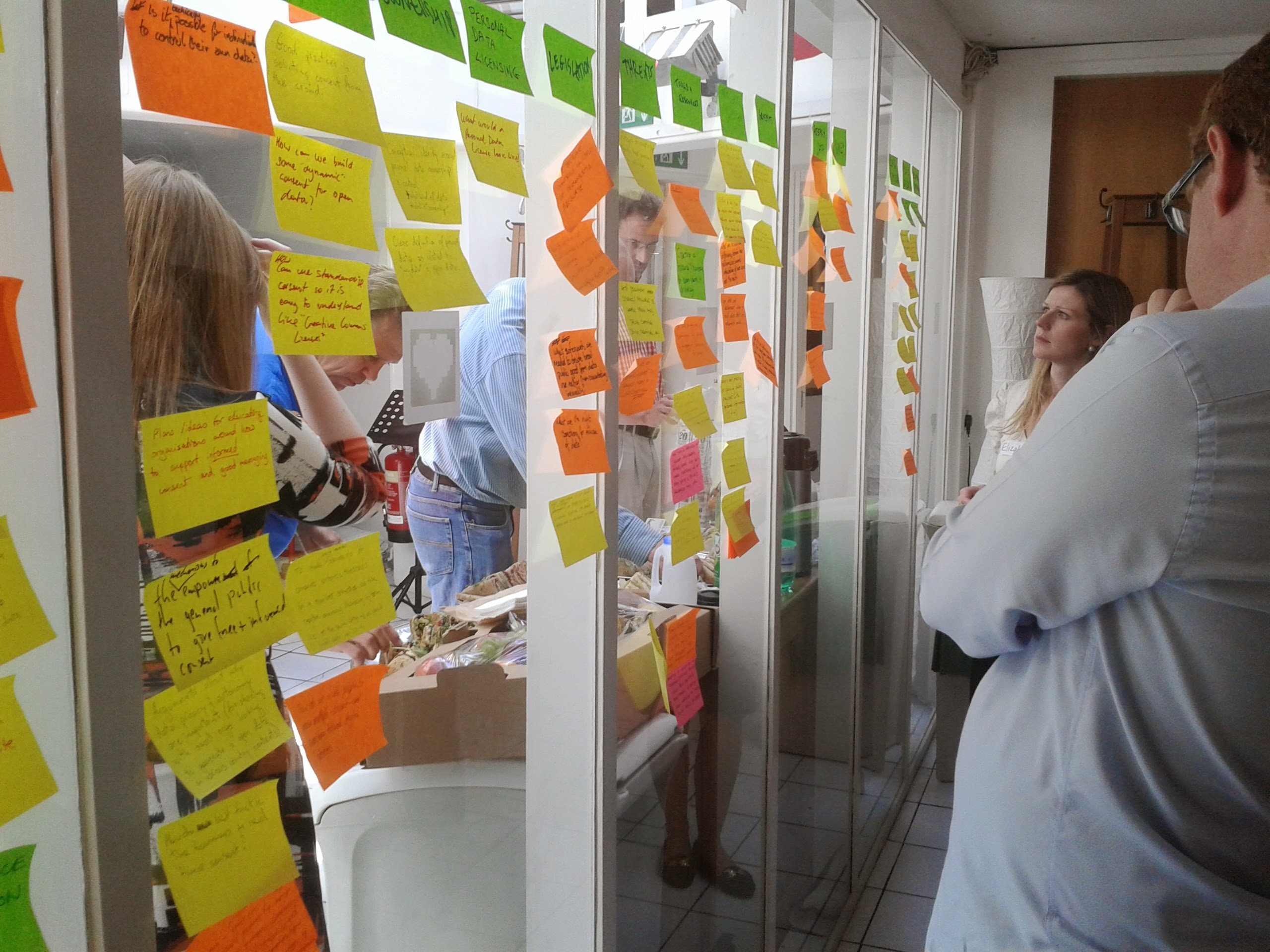 Participants looking at some of the brainstorm post-it notes